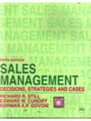 Buy Sales Management, 5E by Cundiff online in india - Bookchor | 9788120305670